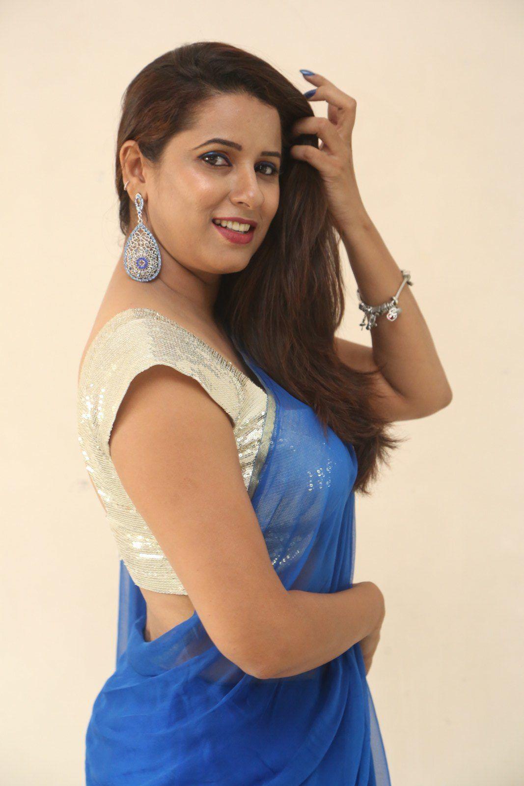 Actress Shravya Reddy in Blue Saree Photos - Telugu ...
